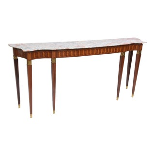 Italian Modern Inlaid Walnut, Bronze-Mounted and Marble Console by Paolo Buffa