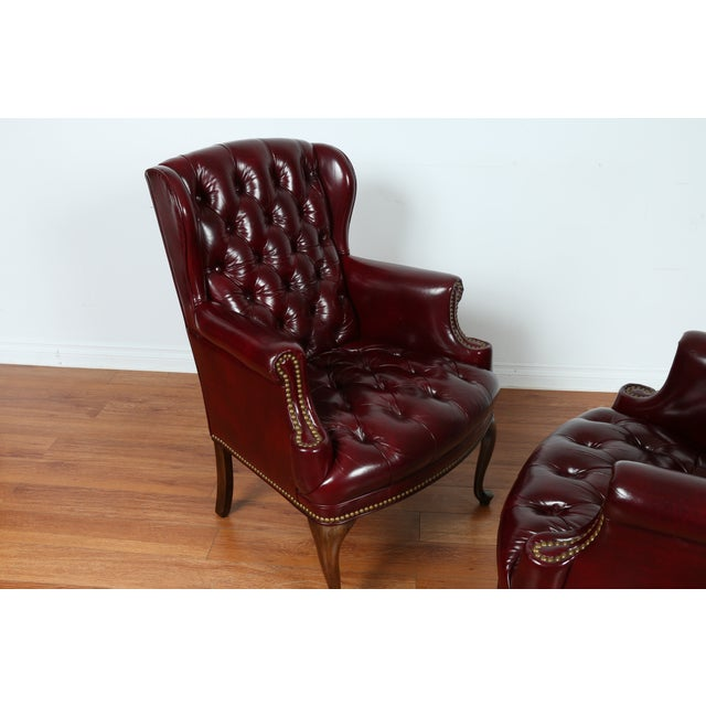 Schaffer Bros Burgundy Leather Chairs - A Pair - Image 6 of 11
