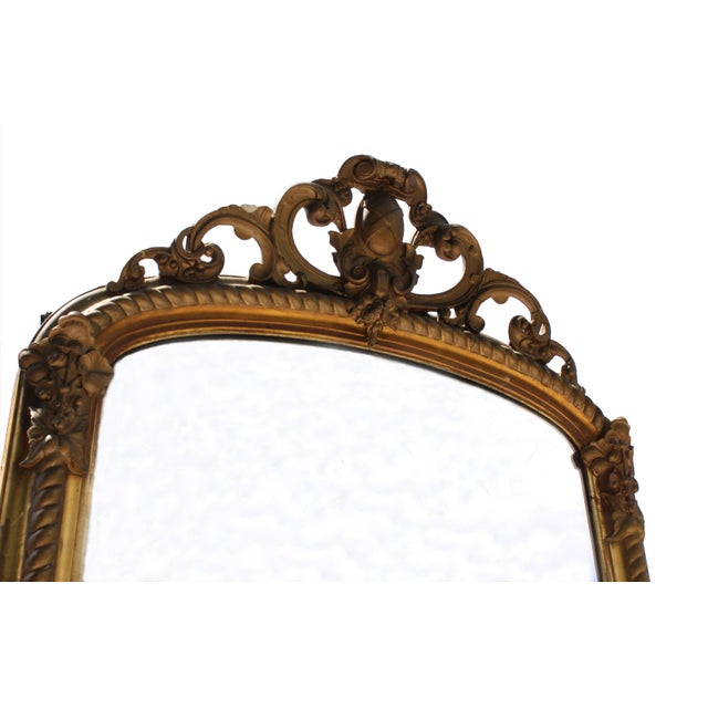 Image of Gilded Baroque-Style Mirror with Crest