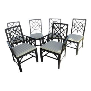 Fretwork Chinese Chippendale Dining Chairs - Set of 6