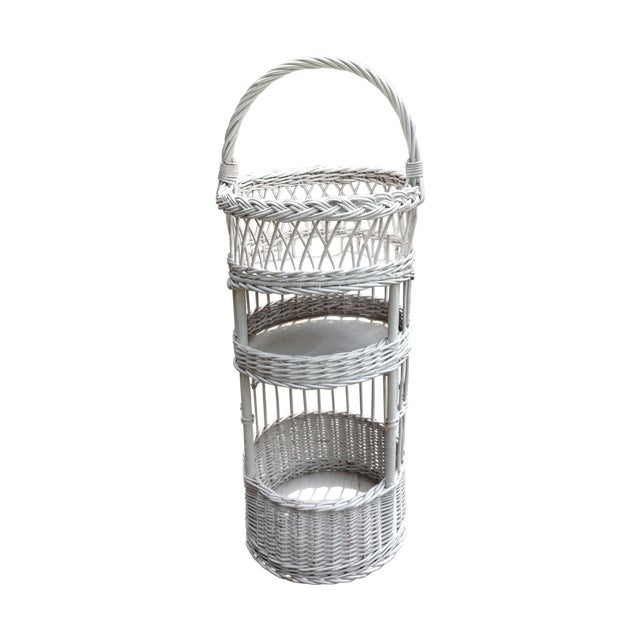 Vintage White Wicker Tiered Stand - Image 1 of 3