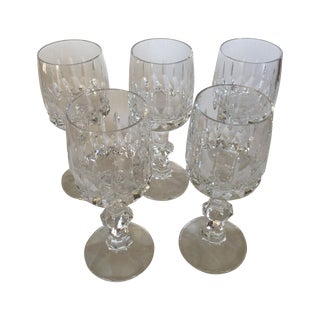 Antique Clear Cut Crystal Dessert Wine Glasses-S/5