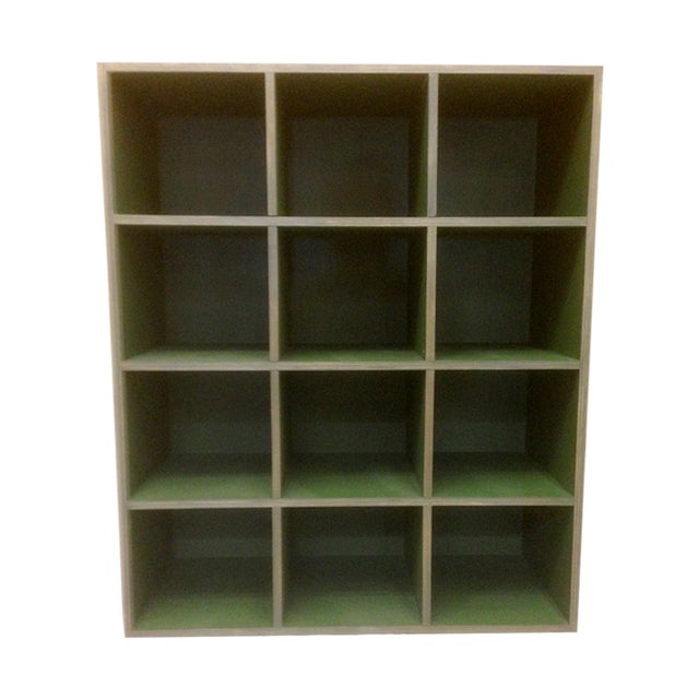 Metallic and Green Cubby Shelf Unit - Image 1 of 6