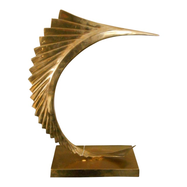 Mid-Century Modern Abstract Sailfish Brass Sculpture - Image 1 of 5