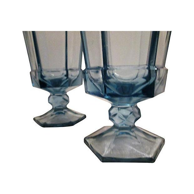 Vintage Powder Blue Footed Iced Tea Glasses - S/5 - Image 4 of 4