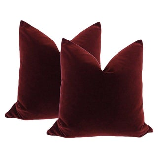 "22"" Oxblood Velvet Pillows - a Pair"