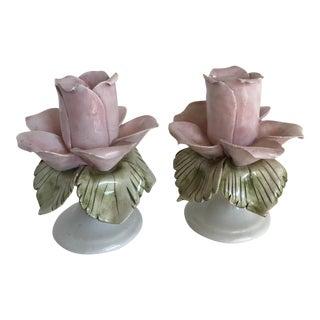 Vintage Porcelain Pink Rose Candleholders - A Pair