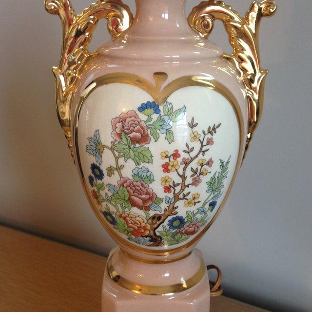 Vintage Blush Colored Deena China Lamp - Image 9 of 11