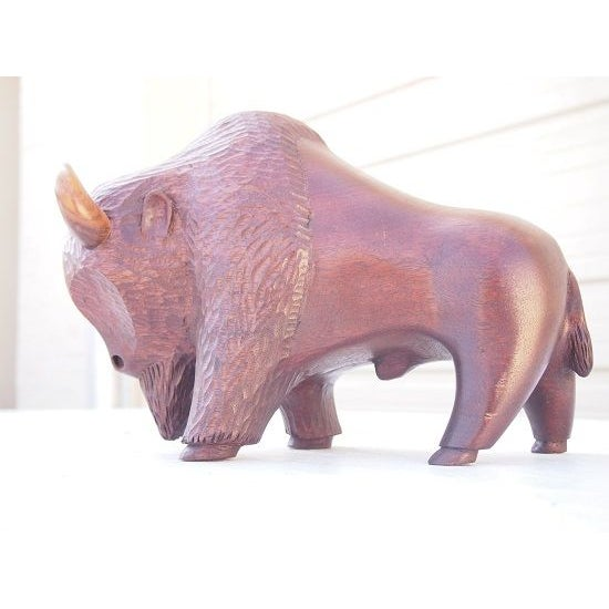 Image of Carved Wood Buffalo Sculpture