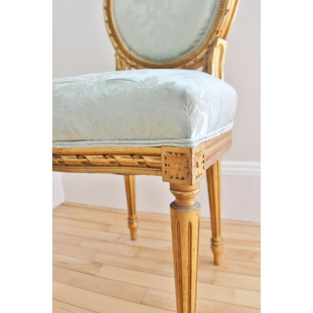 Vintage Louis XVI Style Giltwood Chairs - a Pair - Image 3 of 7