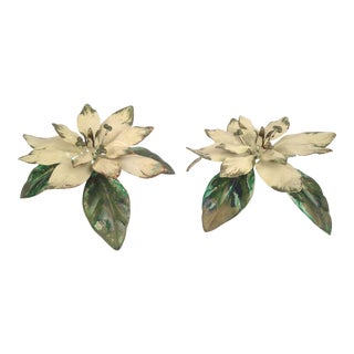 Vintage Neiman Marcus Floral Toleware Candle Holders - A Pair