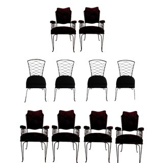 10 Rene Prou Chairs Set of Four Chairs and Six Armchairs