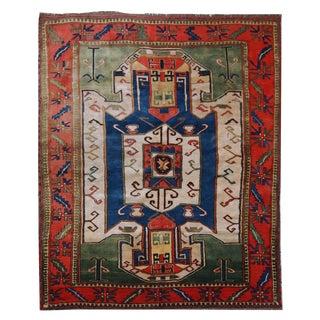 "1960s Handmade Vintage Caucasian Kazak Rug - 5'5"" x 6'2"""