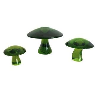 Vintage Green Viking Glass Mushrooms - Set of 3
