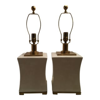 Visual Comfort e.f. Chapman Pillow Tea Stain Porcelain Table Lamps and Parchment Paper Shades - a Pair