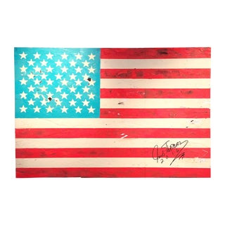 Jacob Thomas 'Distressed American Flag' Painting