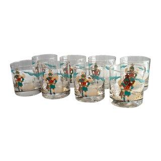 Vintage Couroc Gold Rim Whisky Glasses - Set of 8