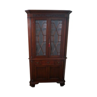 Antique 1920s Solid Mahogany Chippendale Style Corner Cabinet