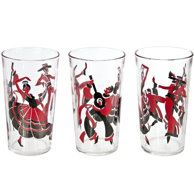 Eight Flamenco Dancer Glasses With Carrier - Image 3 of 3
