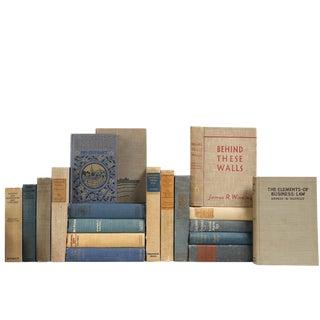 Vintage Burlap & Blue Mixed Books - Set of 20