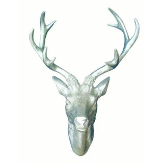 Silver Deer Horn Hanging Wall Sculpture