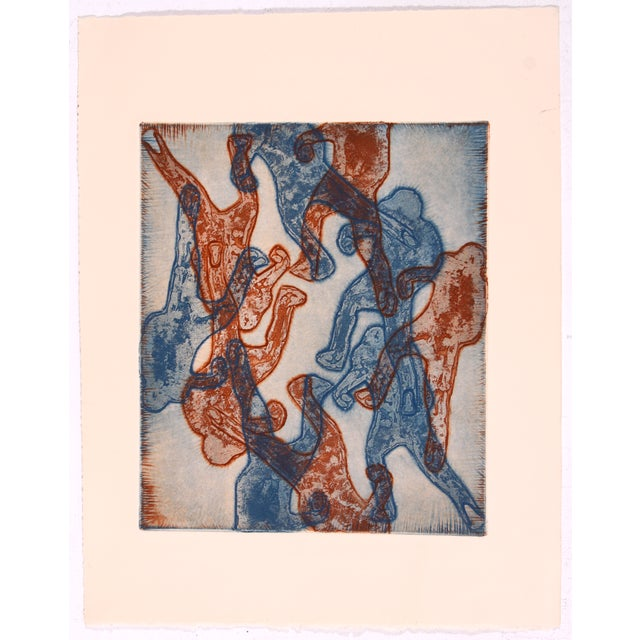 Blue And Red Abstract Figures Collagraph - Image 2 of 3