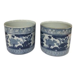 Blue & White Ceramic Cache Pots -a Pair