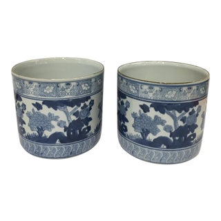 Pair of Blue & White Ceramic Cache Pots