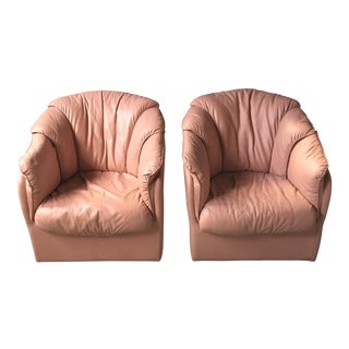 Vintage Pink Natuzzi Leather Lounge Chairs - A Pair