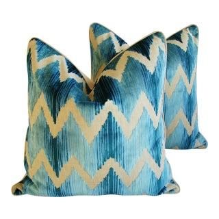 Lee Jofa Chevron Flamestitch Cut Aqua Velvet Pillows - a Pair