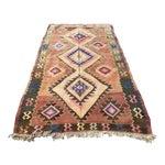 Image of Brown Vintage Turkish Kilim Rug - 4′10″ × 8′2″