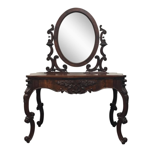 Carved Antique Mahogany Vanity With Mirror - Image 1 of 7 - Carved Antique Mahogany Vanity With Mirror Chairish