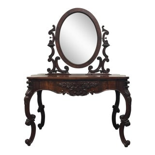 Carved Antique Mahogany Vanity With Mirror