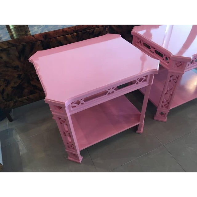 Chinoiserie Pink Lacquered Fretwork Side Tables - A Pair - Image 2 of 11