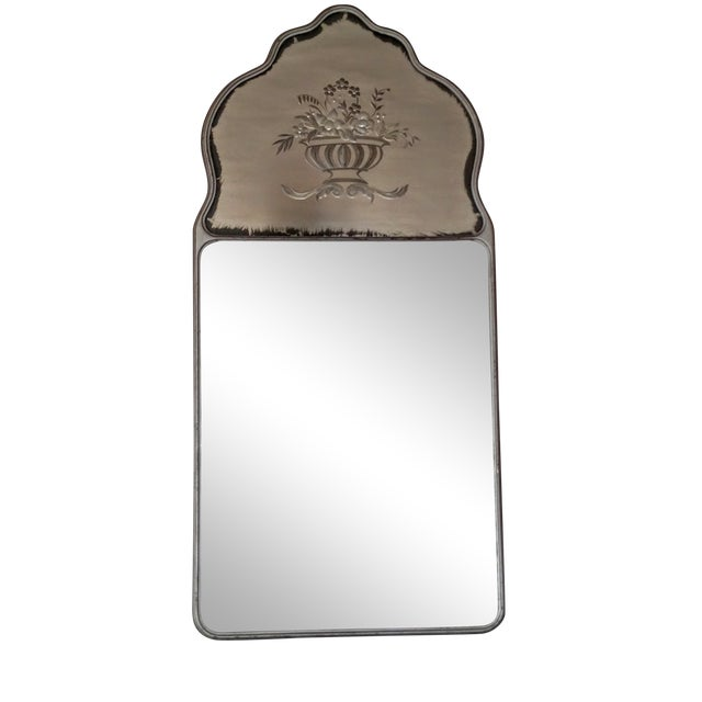 Large Vintage Etched Wall Mirror - Image 1 of 11