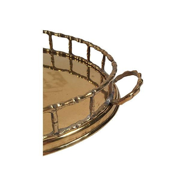 Image of Oval Brass Bamboo Rail Tray