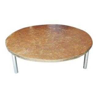 Mid Century Stone Slab & Chrome Coffee Table