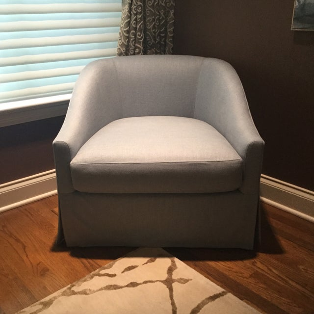 Baker Furniture Upholstered Lounge Chairs & Ottoman - Image 6 of 6