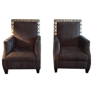 Embroidered Linen & Leather Recliner Set - Pair