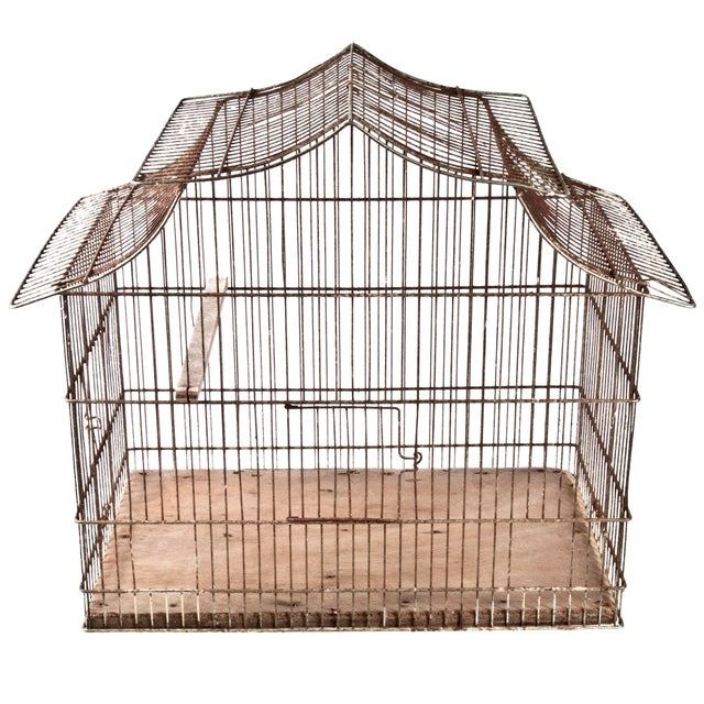 Vintage French Wire Bird Cage - Image 1 of 3