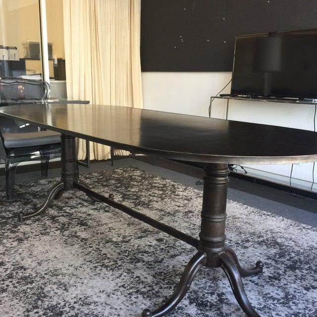 noir metal double pedestal table chairish. Black Bedroom Furniture Sets. Home Design Ideas
