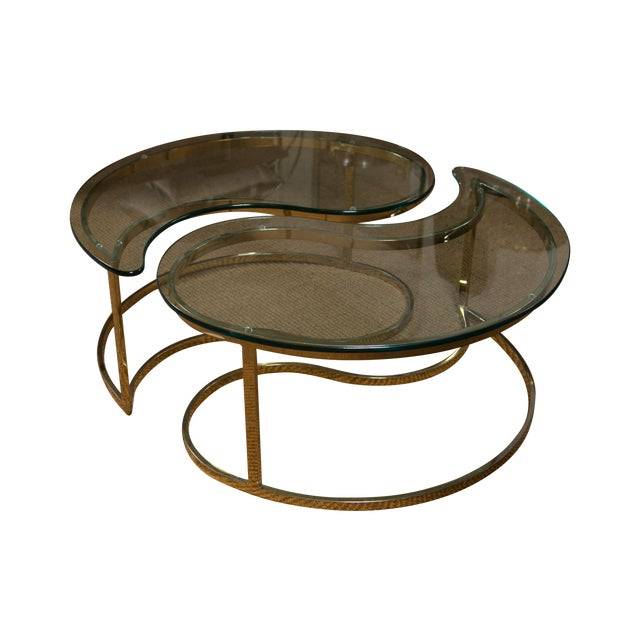 Mid century yin yang coffee table pair chairish for Table yin yang