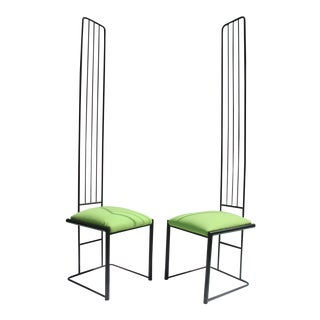 Charles Rennie Mackintosh Style High Back Accent Chairs - A Pair