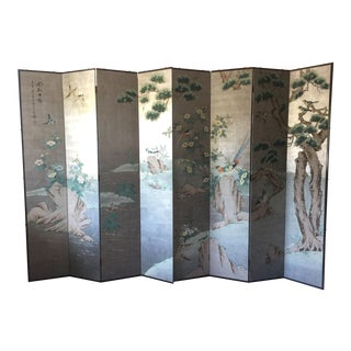Antique Chinoiserie Hand-Painted Folding Screen