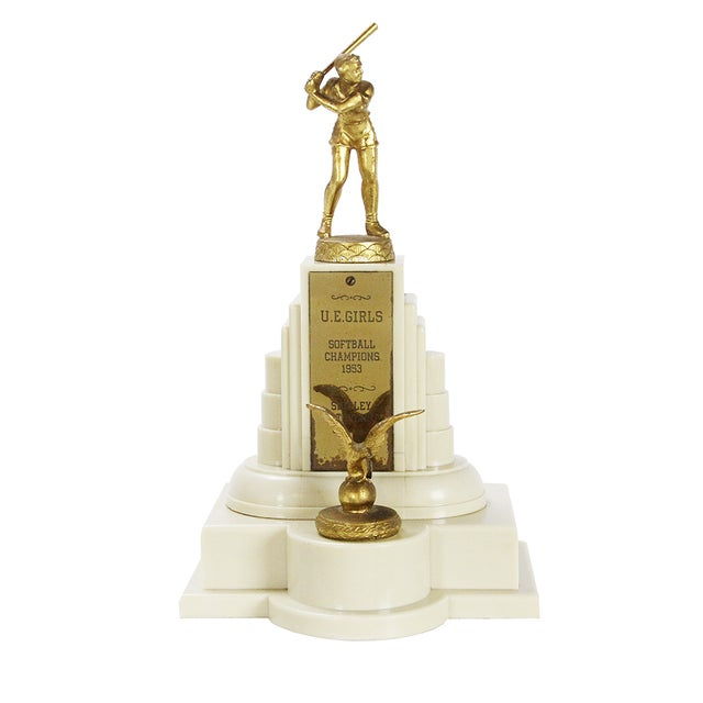 Vintage Large 1950s Women's Softball Trophy - Image 1 of 3
