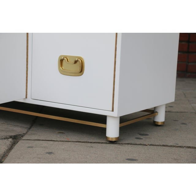 White Mid Century Oriental Low Credenza - Image 4 of 10