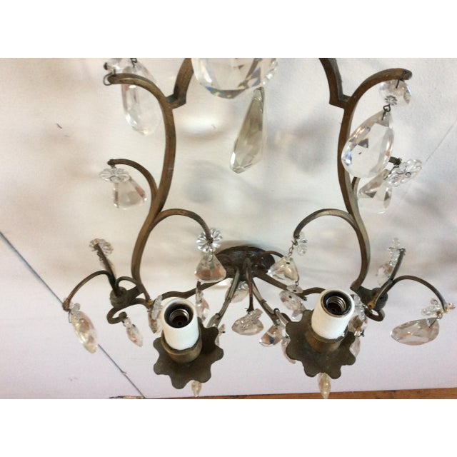 French Bronze & Crystal Wall Sconces - Set of 6 - Image 4 of 8