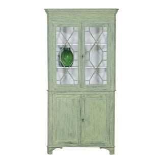 Antique English Painted Georgian Corner Cabinet circa 1840
