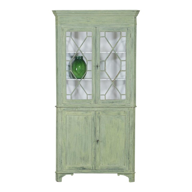 Antique English Painted Georgian Corner Cabinet circa 1840 - Image 1 of 11