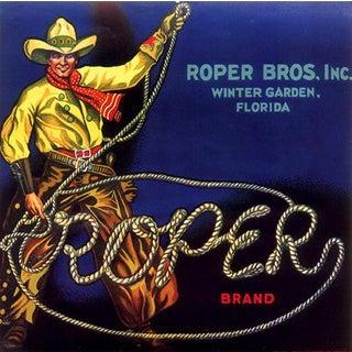 Roper Brand, Winter Garden, Florida - Vintage Florida Citrus Crate Label Fine Art Print
